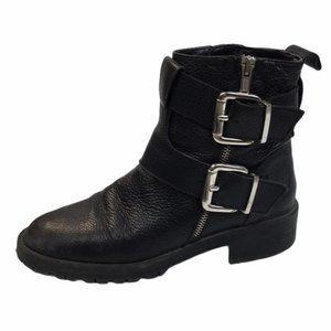 ZARA Black Faux Leather Silver Buckle Booties 37